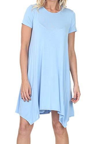 iliad USA 7017 Womens Short Sleeve Loose Fit T Shirts Swing Tunic Top Dress Sky Blue M