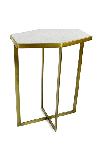 Brass Side Table (Vagabond Vintage, Brass Finish Iron Table with White Marble Top (1 of)