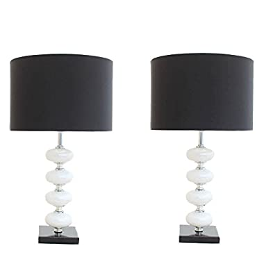 Urban Chic Black & White Table Lamp 2-Piece Set with Hidden Lotus Flower