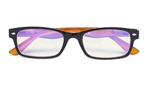 Reduce Eyestrain,Anti Blue Rays,UV Protection Computer Reading Glasses(Black-Yellow,Amber Tinted Lenses) +0.75