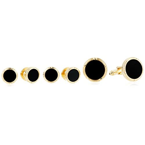 Stacy Adams Men's Round Gold Black Enamel Cuff Link Stud Set