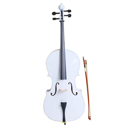 MCH 4/4 Full Size Beginner Acoustic Cello Starter Kit with Soft Case, Bow and Rosin (White) by MCH