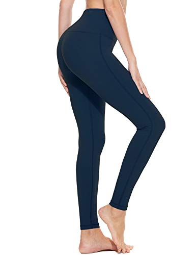 BALEAF Women#039s Yoga Leggings High Waisted Tummy Control Pants Non SeeThrough Fabric Denim Blue Size M