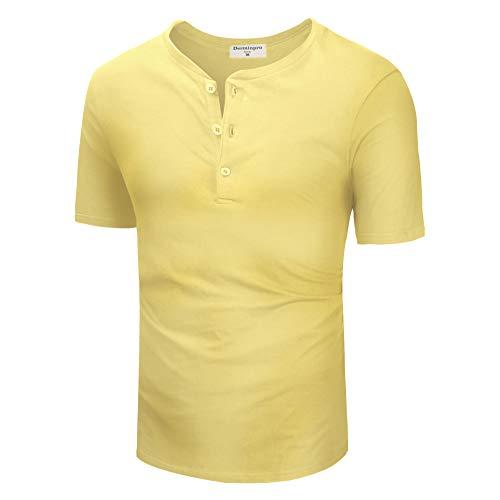 (Derminpro Men's Fashion Popular Casual Basic Front Placket Henley T-Shirts Yellow Large)