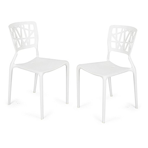 Adeco polypropylene hard plastic dining chairs fun living for Plastic furniture for living room
