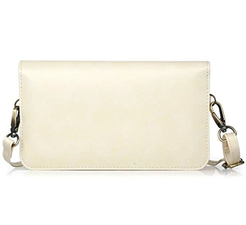 White Purse Cellphone Small Wallet Crossbody Bag Case Leather YaJaMa Travel Shoulder qa4vvw