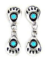 By Navajo Artist Gaynell Parker Beautiful Sterling-silver Turquoise Bear Paw Dangle-Earrings