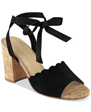 8d1db131fc5 Image Unavailable. Image not available for. Color  Marc Fisher Piya Lace-Up  Cork Block-Heel Sandals Women s Shoes Black