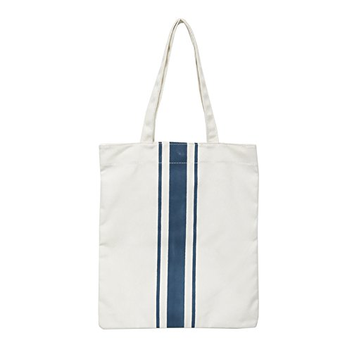 Tote Blue Shopping Bag Women Handbag Shoulder Pouch Blue Yeshi Stripe Print Canvas Minimalism qwOWtfzP