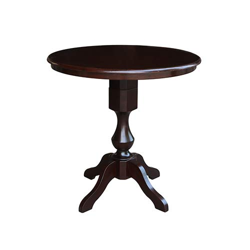 International Concepts K15-36RT-11P 36'' Round Top Pedestal Table-34.9'' H, Rich Mocha by International Concepts