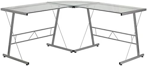Flash Furniture Glass L-Shape Computer Desk with Silver Metal Frame