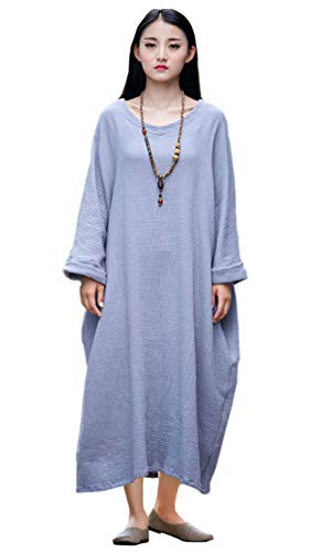 Soojun Women's Casual Cotton Linen Long Dress with Batwing Sleeve, Style 2 Slate Grey, One Size