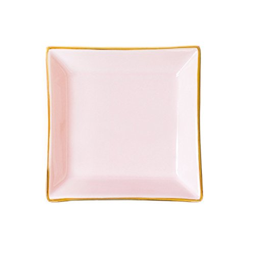 Pink Square Jewelry Dish | Small Ring Holder Ceramic Bridesmaid Storage Tray Wedding Gift for Bride Desk Organizer Office Decor Accessories by Sweet Water Decor