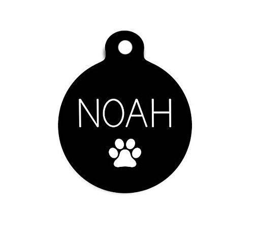 Paw Print Pet Tag, Cat Print Cat Tag, Dog Tag for Dogs, Simple Dog Tag, Custom Name Tag, Modern Dog Tag, Round Pet - Mall 10 Carolina