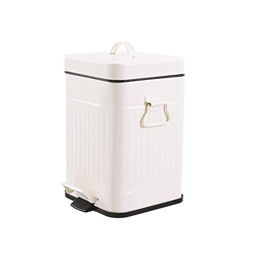 Bathroom Trash Can with Lid, Small White Wastebasket for Bedroom with Soft Close Lid, Retro Vintage Style Square Garbage Bin (Cream White, - Square Garbage