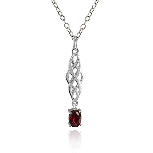 Ruby Celtic - Sterling Silver Created Ruby Oval Celtic Knot Dangling Drop Necklace