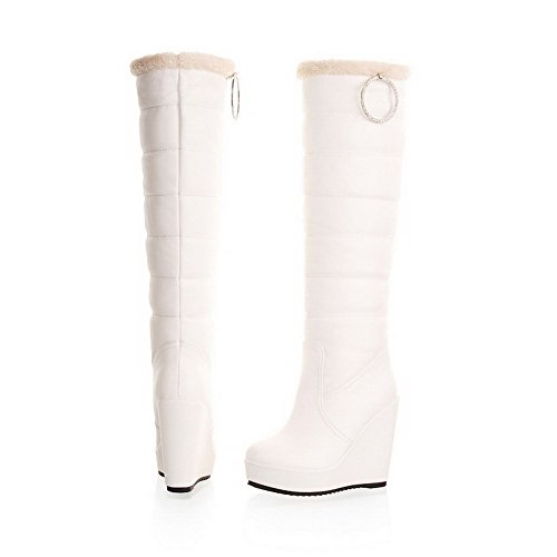 Round Boots High with Wedge M 5 Heels Soft Toe and AmoonyFashion Closed Solid Material B Metalornament US White Womens zIqwPAE