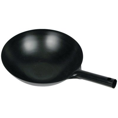 Winco WOK-34 Chinese Wok with Integral Handle, 14-Inch, Black