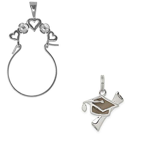 Mireval Sterling Silver Black Antiqued Graduation Cap and Diploma Charm on a Hearts Charm ()