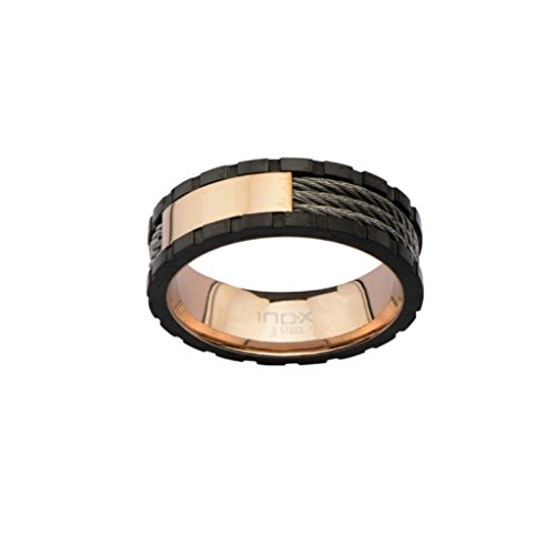 Inox Jewelry Stainless Steel Rose Gold Ring w/ Line Inlay (Black, Size 12)