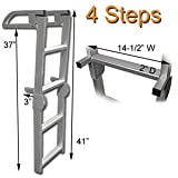 RecPro Marine PONTOON BOAT 4 STEP FOLDING BOARDING ALUMINUM LADDER AL-C4