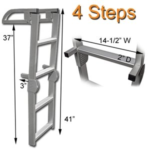 - RecPro Marine PONTOON BOAT 4 STEP FOLDING BOARDING ALUMINUM LADDER AL-C4