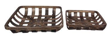 Heart of America Set of 2 Assorted Dark Brown Wood Weaved Baskets