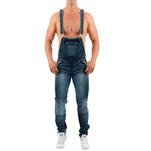 TOPUNDER Mens Wash Broken Pocket Trouser Suspender Pants Button Fly Overall Jumpsuit Jean]()