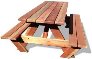 6' Genuine California Redwood Picnic Table, Square Ends
