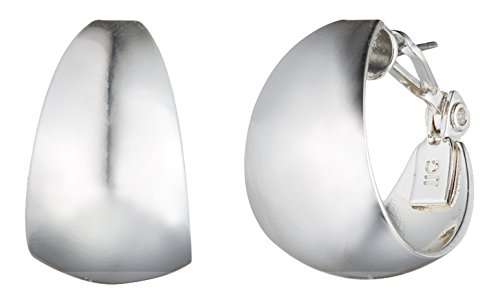 Band Silver Tone Earrings (Anne Klein Classics Silver Tone 14K Medium Band Hoop Earrings, One Size)