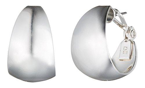 Anne Klein Classics Silver Tone 14K Medium Band Hoop Earrings, One Size