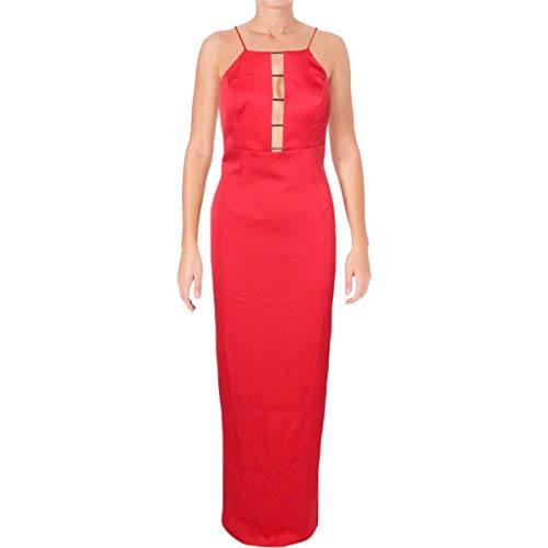Aidan by Aidan Mattox Womens Charmeuse Halter Evening Dress Red 10