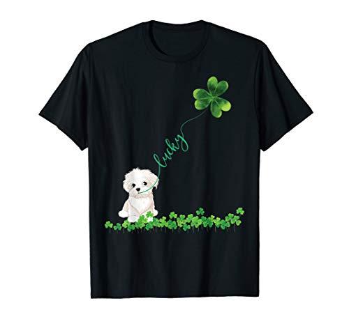 Lucky Maltese Dog Shamrock St Patrick day Tshirt for - Maltese Womens