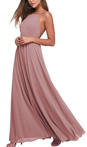 Bridesmaid Dress Floor Length Halter Chiffon Backless Formal Prom Dresses Blush US14
