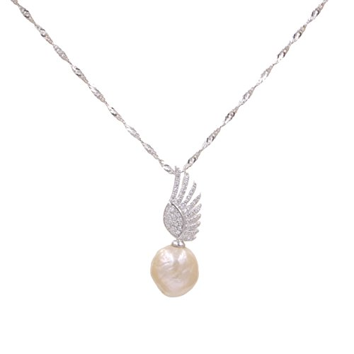 Lee Lee N4103Z-Baroque Pearl Angel Wing White Gold Plated Necklace Anniversary Birthday Gift Designer Jewelry