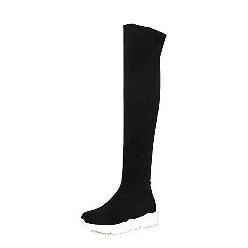 pastel botas las de cuero grueso TSNMNB botas de Unidos estiramiento los Europa altas pino gamuza Estados de espesor invierno de rodilla de de mujeres de de de más negro estufa 34 botas y terciopelo xRw1wXqFnT