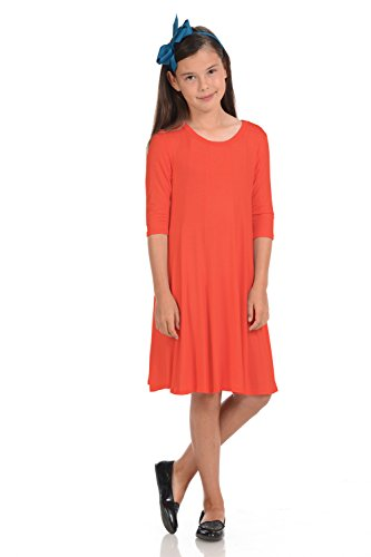 Honey Vanilla Girls' A-Line Trapeze Dress with Easy Removable Label X-Large 11-12 Years Coral