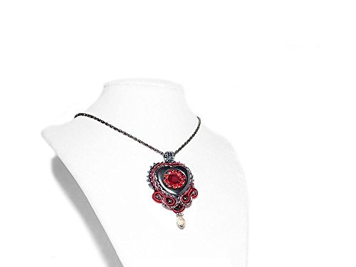 (Soutache Pendant Necklace with Hematite Heart. Red Black Pendant on Chain. Embroidered Jewelry. Free shipping Canada & USA)