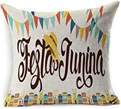 Festa Di Halloween Idee (SHISHE Party Festa Junina Greeting Latin American Girl Holiday Vintage June Festival Idea Folk Fair Welcome Carnival Cotton Linen Pillow Covers 45cm x 45 cm for Living Room Christmas Pillow)