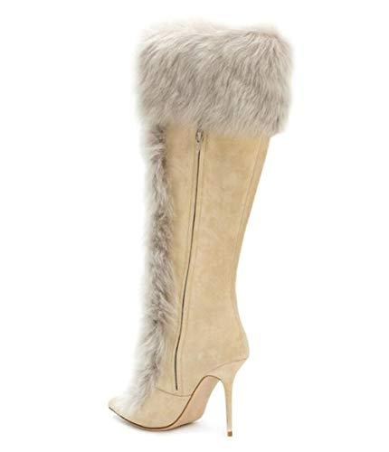Boots Bout Custom Shiney Talons à Knee Bottes Beige Heel Hauts d'hiver Femmes pour High Sweet End Pointu Chunky nA4vA7
