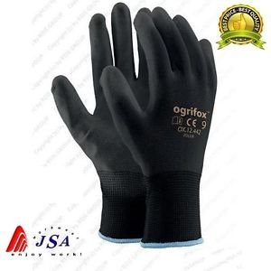 ef87da201cbf0 Image Unavailable. Image not available for. Colour: 24 PAIRS NEW BLACK COATED  SAFETY WORK GLOVES GARDEN GRIP MENS ...