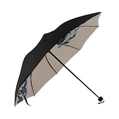 Travel Umbrella Foldable Creative Fierce Monster Dragon Fire Underside Printing Best Foldable Umbrella Sun Golf Umbrella Japanese Umbrella Parasol Adult With 95% Uv Protection For Women Men Lady Girl]()