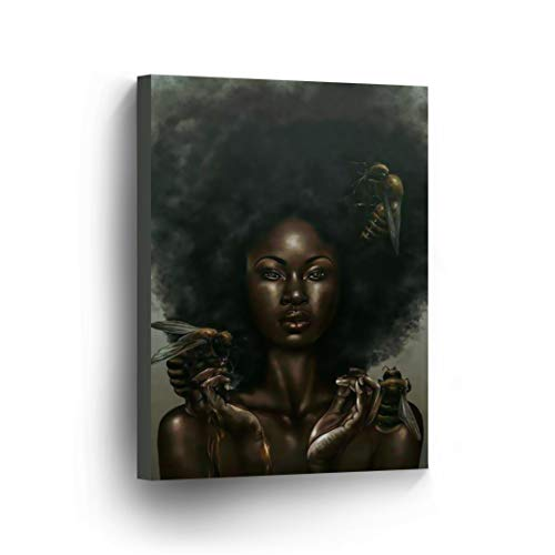 (SmileArtDesign Sexy African Woman Bees Modern Art Oil Painting Canvas Print Decorive Wall Art African Art Home Decor Stretched Ready to Hang -%100 Handmade in The USA - 12x8)