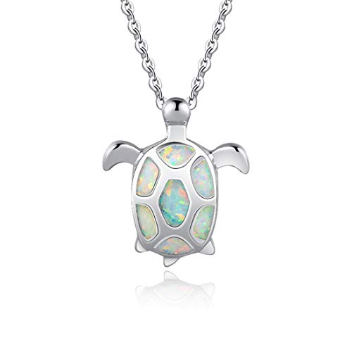 Fancime 925 Sterling Silver White Created Opal Sea Turtle Pendant Necklace Health Longevity Birthstone Delicate Jewelry For Women Girls 18