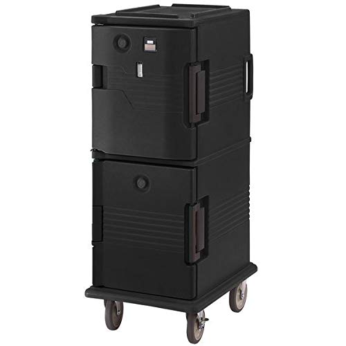 TableTop King UPCHT800110 Black Ultra Camcart Two Compartment Heated Holding Pan Carrier with Casters, Top Compartment Heated - 110V - Heated Holding Pan Carrier