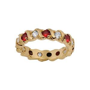 1001 Bijoux - Alliance plaqué or rail pierres blanches et rouges