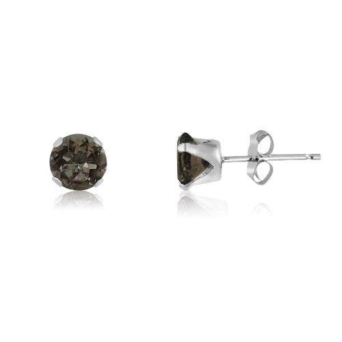 Round 4mm Sterling Silver Genuine Smokey Quartz Stud Earrings, Free Gift Box included (Smoky Silver Jewelry Quartz Box)