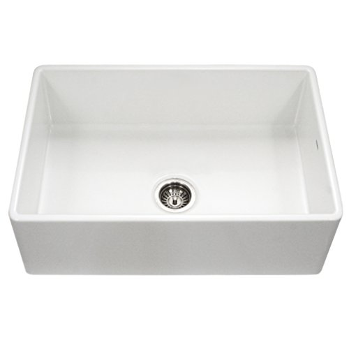 Houzer PTG-4300 WH Platus Series Apron-Front Fireclay Single Bowl Kitchen Sink, 33