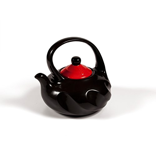 Ceramic Tea Kettle Stove Top by Xtrema - 2.5 Quart (10 Cup) Swirl Black Tea Pot with Colored Lid - Firebrick Red