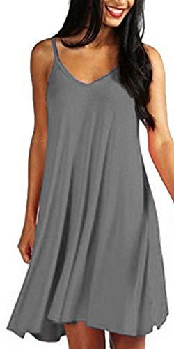 Mutoto Womens Adjustable Spaghetti Straps V Neck Plain Casual Summer Beach Sundress Swing Mini Dress (S, Grey Sundress)